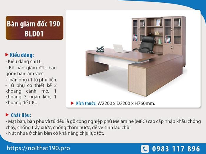 Bộ bàn lãnh đạo cao cấp 190 BLD01