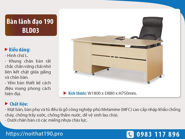 Bàn lãnh đạo190 BLD03 phù hợp dành cho trưởng phòng