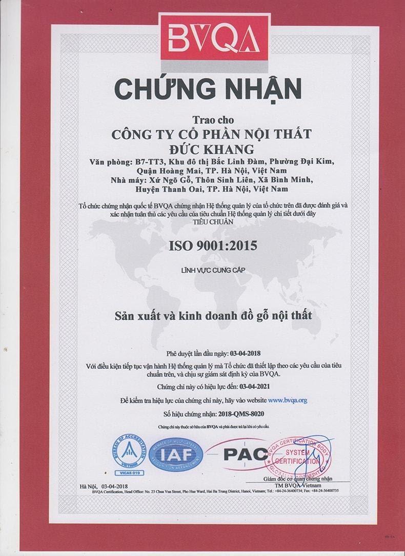 Chứng nhận của công ty Đức Khang