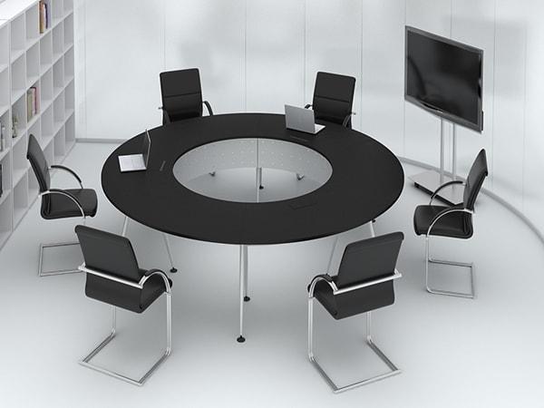 Phòng họp nhỏ có thể dùng kiểu bàn tròn nào?