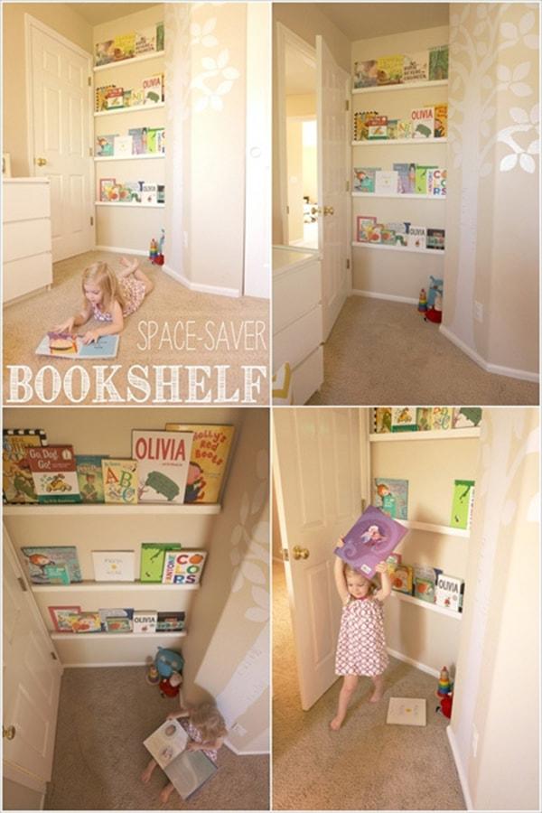 Phần tường sau cánh cửa tủ là nơi bạn có thể bày nhiều cuốn sách dễ thương cho bé.