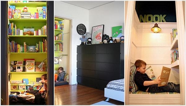 Tủ quần áo âm tường có thể biến thành nơi bí ẩn để bé khám phá tủ sách của mình.