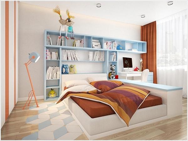 Tủ tường đầu giường vừa chứa được nhiều sách vừa thuận tiện khi bé muốn tìm kiếm cuốn sách yêu thích.