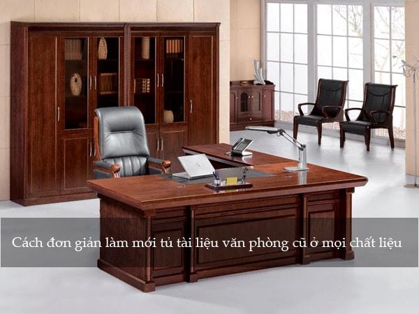 Tủ tài liệu văn phòng bằng gỗ tự nhiên làm mới bằng cách đánh vecnin