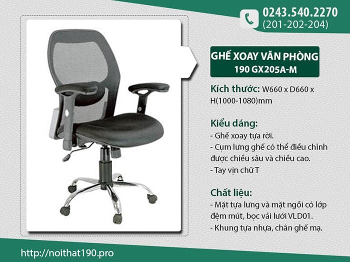 Ghế xoay văn phòng 190 GX205A-M