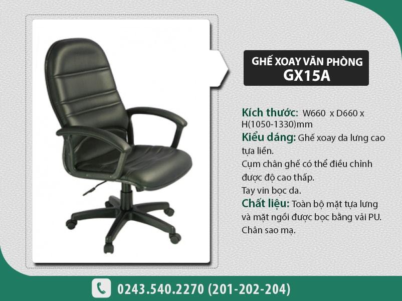 Ghế xoay văn phòng GX15-A thiết kế hiện đại với lưng tựa cao, rộng, mặt tay vịn có lớp đệm êm ái
