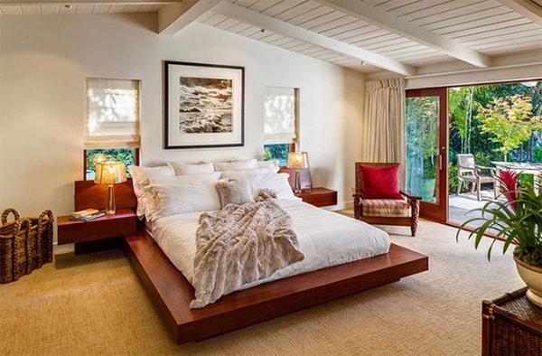 Phòng ngủ theo phong cách Midcentury với màu sắc tự nhiên