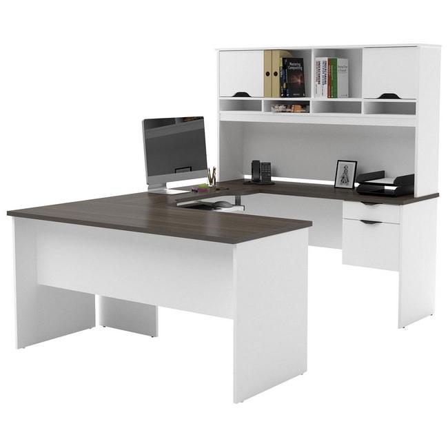 Mẫu bàn làm việc hình chữ U hiện đại