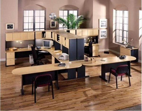 Bàn làm việc hình chữ U có thể dùng cho các không gian văn phòng