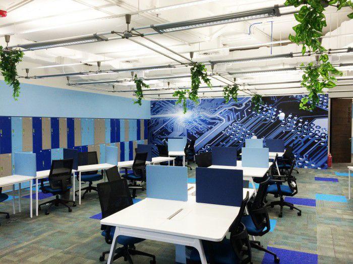 Trang trí nội thất văn phòng tông màu xanh dương