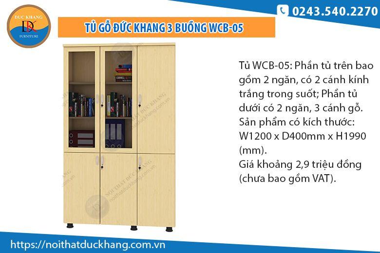 Tủ 3 buồng kết hợp 2 cánh kính WCB-05